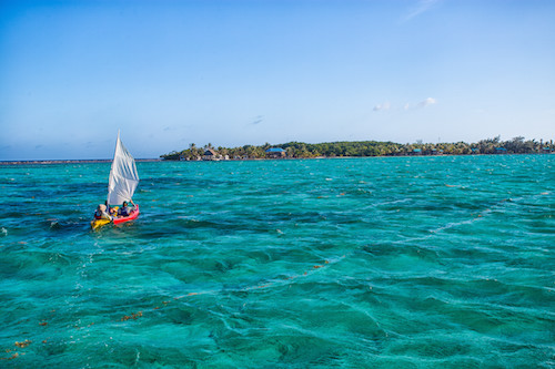 Kayak sailing at Glovers Reef Belize