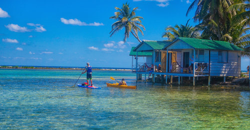 Kayak and SUP at Tobacco Caye Belize