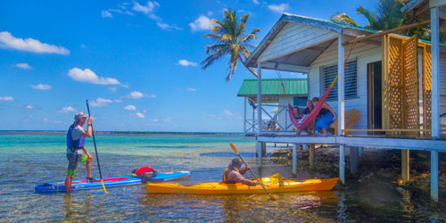 SUP at Tobacco Caye Paradise Cabins