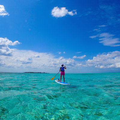 SUP at Glover's Reef, Belize
