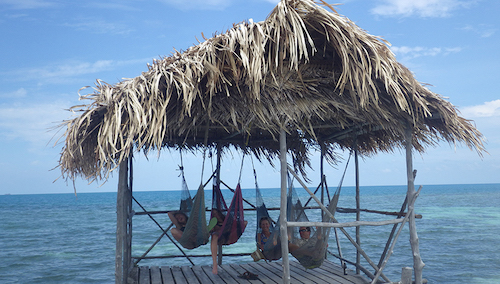 Relaxing at Tobacco Caye