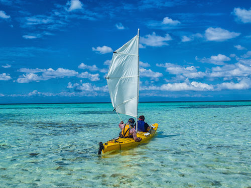 Kayak sailing on Glover's Reef, Belize
