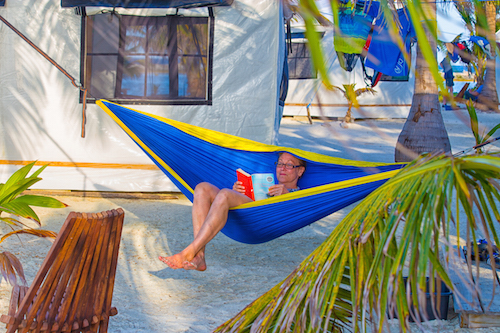 Hammock time at Glovers Reef Basecamo