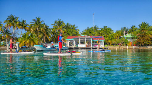 Paddling to the lodge at Southwater Caye