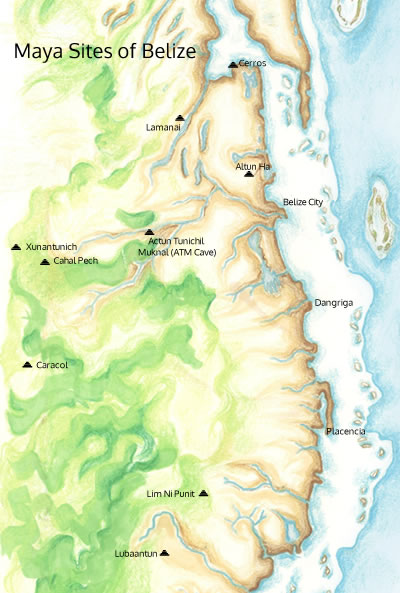 Map of Mayan Sites Belize