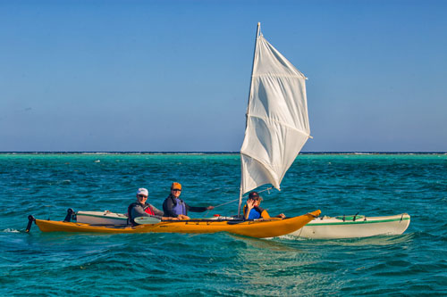 Kayak Sailing at Glovers Reef