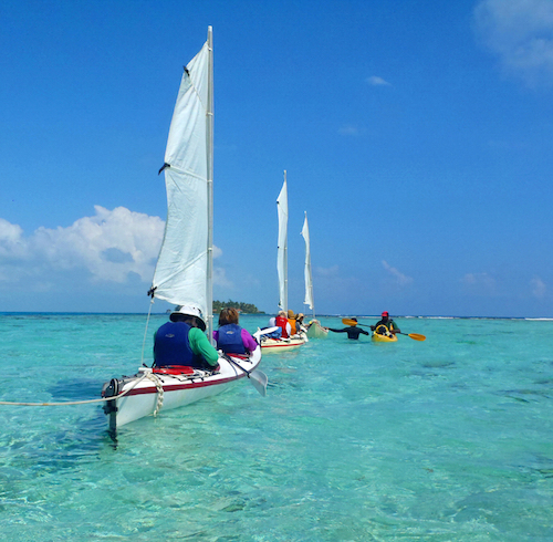 Kayak sailing Belize
