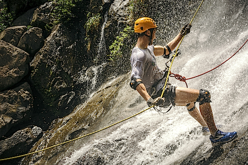 Waterfall Rappelling, Bocawina Belize