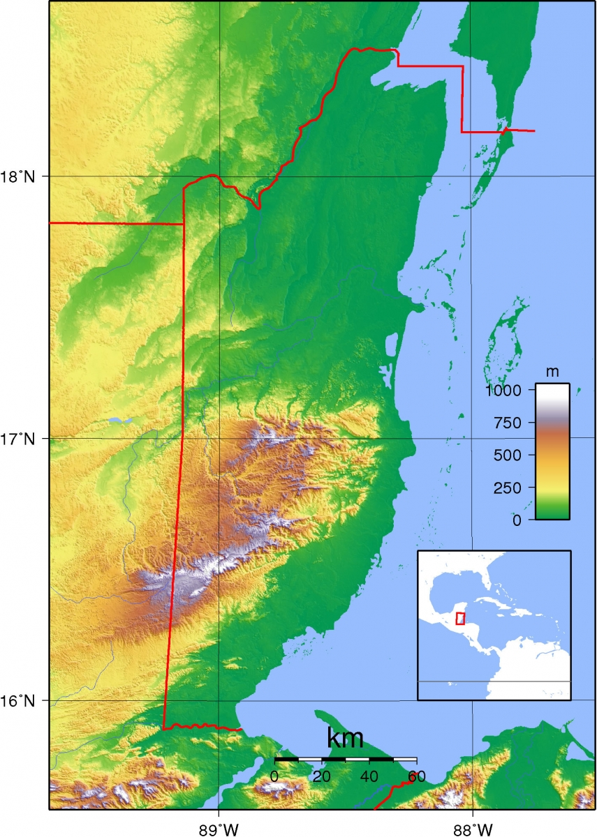 Caribbean Topographic Map.Detailed Maps Of Belize Island Expeditions