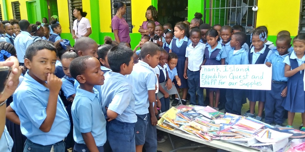 Donations are received at the Christ the King Anglican Primary School, in Dangriga