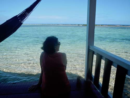 Checking out the view from the cabanas at Tobacco Caye