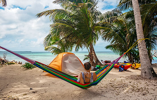 Sea Kayak Camping with a Hammock in Belize