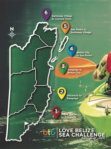 Route Map BTB Sea Kayak Challenge
