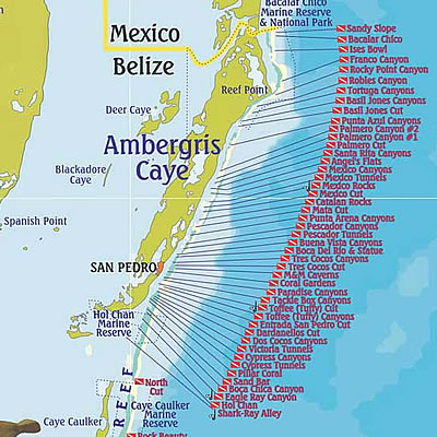 Dive Map of Ambergris Caye and Caye Caulker