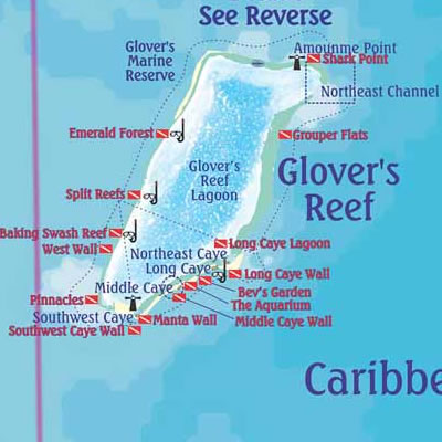 Glover's Reef Dive Map