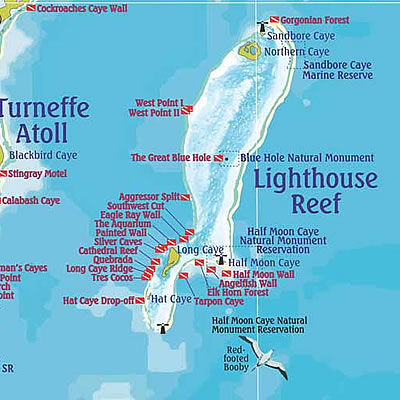 Lighthouse Reef Dive Map