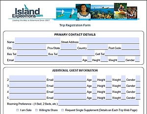 Island Expeditions Trip Registration Form