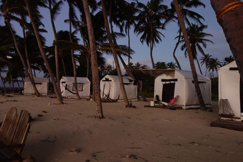 The tents at Lighthouse Reef Basecamp