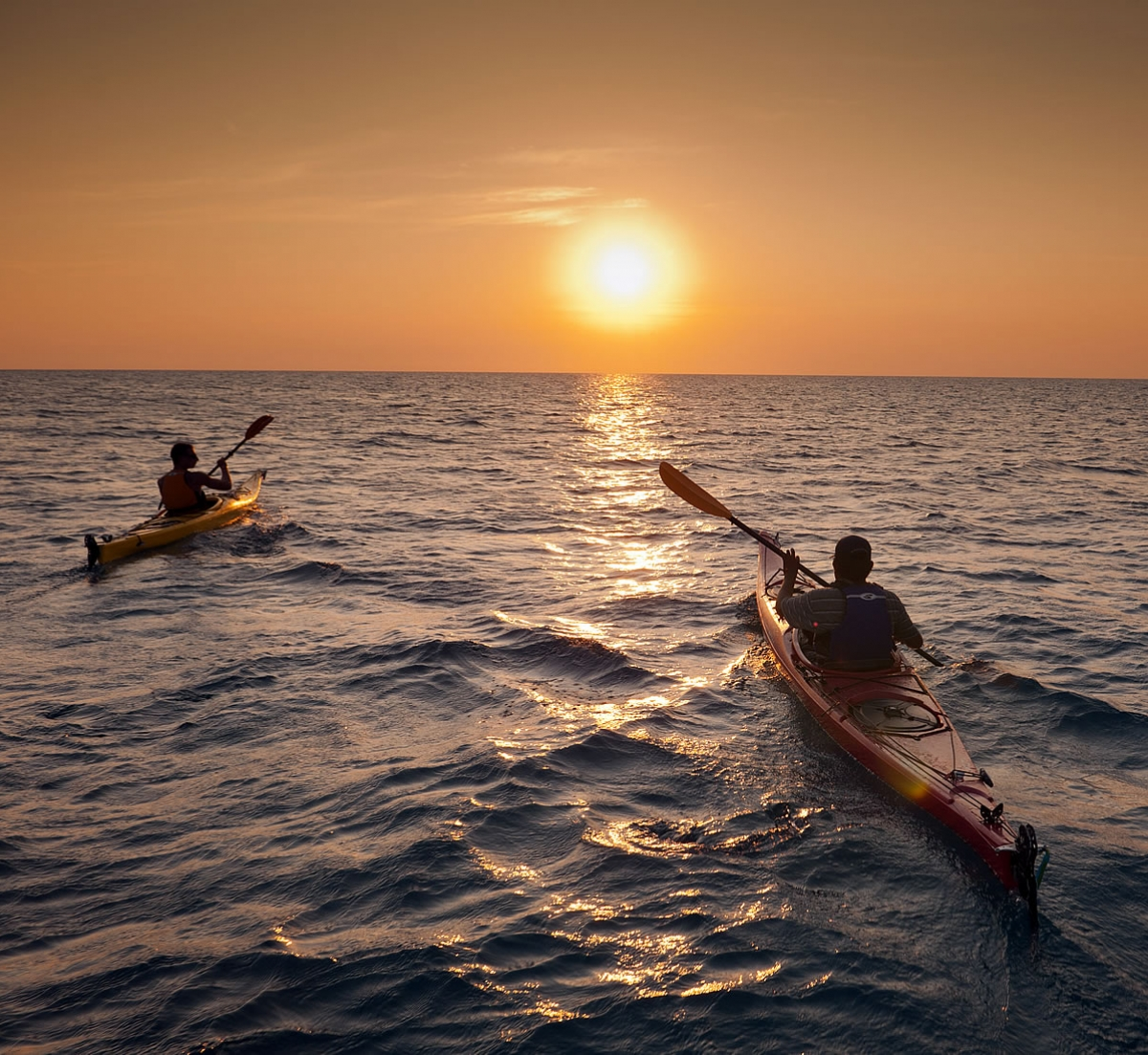 Sea Kayaking into the sunset in Belize