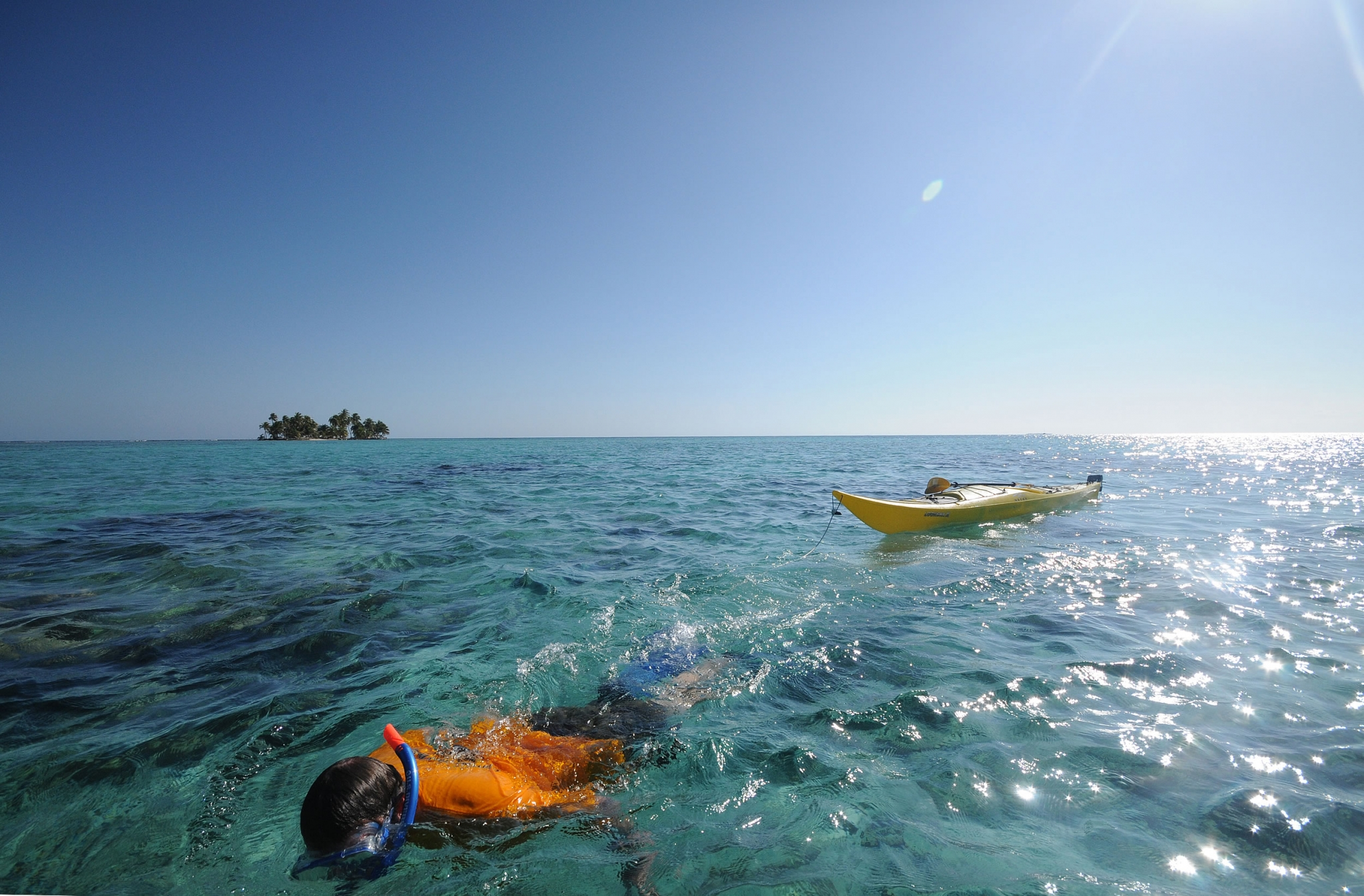 Snorkel the Belize Barrier Reef infront of Carrie Bow Caye