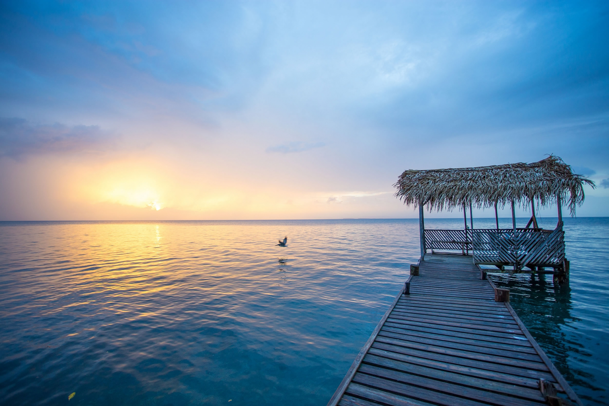 Sunset Dock at beautiful Billy Hawk Caye