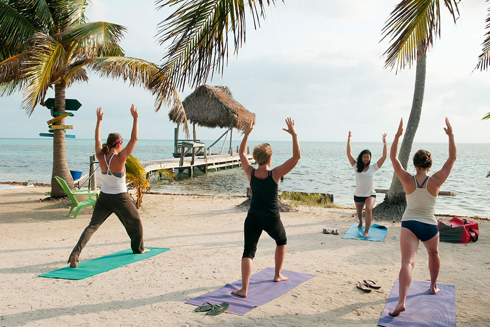 Yoga at at the Glover's Reef Basecamp