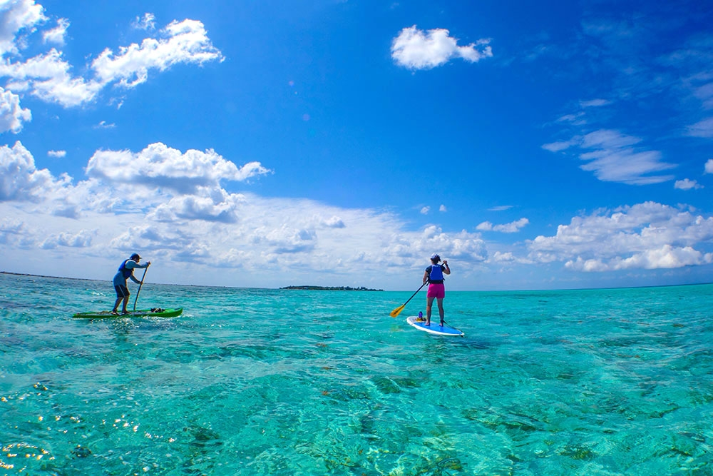 Paddleboarding on Glover's Reef