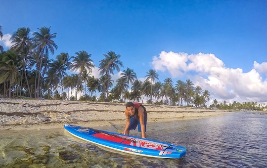 Paddleboarding on Half Moon Caye