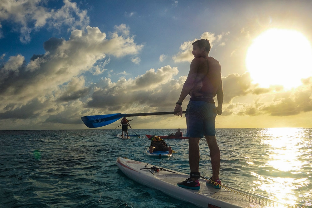 Paddleboarding on Lighthouse Reef Atoll