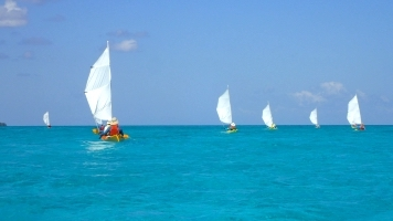 Kayak Sailing at Half Moon Caye